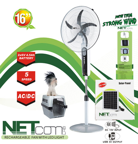 "Kit Oscillating Fan, Rechargeable, 5 Speed, LED. 16"" AC/DC with solar panel combo"