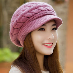 Fall Winter Beanies Knitted - Hats Rabbit Fur Cap Snapback Cap Ladies
