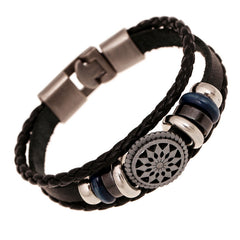 Alloy Leather Bracelet Men Casual personality - Sun Flower - Woven Beaded Bracelet Vintage Punk