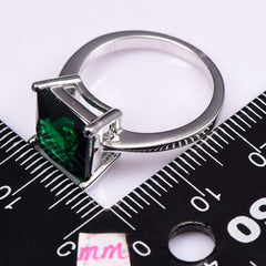 Classic Style Emerald Sterling Silver - Party Fashion - Design Romantic Ring .