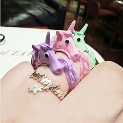 Lovely Candy Color - Korean Unicorn - Finger Ring Enamel Horse Party - Rings For Women - Fashion Jewelry