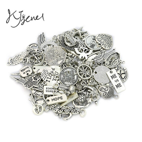 Jewelry 100pcs - Ancient Silver Mixed - Anchor Heart Charms