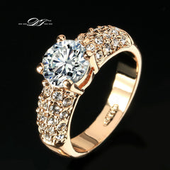Rose Gold Plated - Fashion Brand Rhinestone Ring - Jewelry For Women.