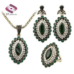 Indian Vintage Luxury Rhinestone - Green Crystal Horse-  Eye Flower - Necklace Earring.