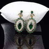 Indian Vintage Luxury Rhinestone - Green Crystal Horse-  Eye Flower - Necklace Earring. - Fim Terra