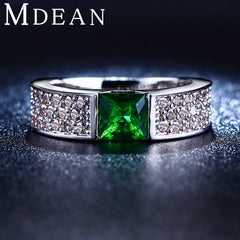 MDEAN Emerald Green Crystal  - Jewelry Diamond Classic Rings For Women.