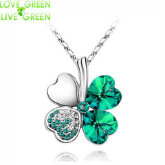 Austrian Crystal four Leaf Leaves Clover heart rhinestones necklace pendant jewelry.