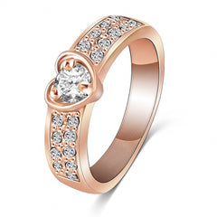 LZESHINE Brand Ring - Rose Gold Plated Heart - Rings With Genuine SWA.