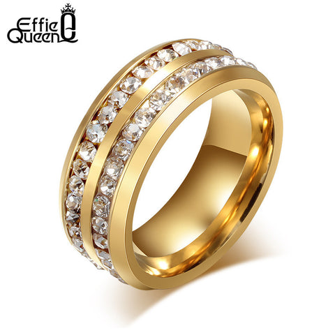 Titanium Steel Rings Fashion - 2 Lines Eternity Crystal Jewelry - Gift for Men Women.