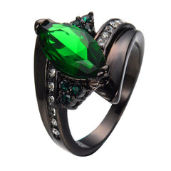 Marquise Cut Emerald Ring Elegant - Jewelry Men Women Black Gold.