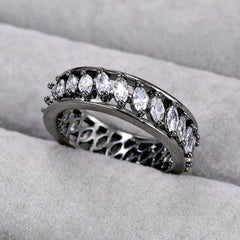 Retro White Marquise Fashion Jewelry - Hot Women Ring - Diamond Crystal - Black Gold