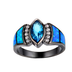 Fashion Marquise Aquamerine  - Ring Blue Fire Opal - Men Women - Party Jewelry Black Gold.
