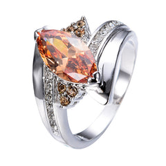 Exquisite Jewelry - Marquise Champagne Sapphire - Ring For Women/Men White CZ Gold.
