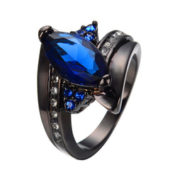 Elegant Marquise Cut Blue Sapphire - Ring Charming Promise - Jewelry Women/Men
