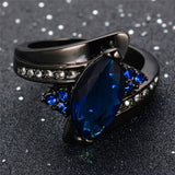 Elegant Marquise Cut Blue Sapphire - Ring Charming Promise - Jewelry Women/Men - Fim Terra