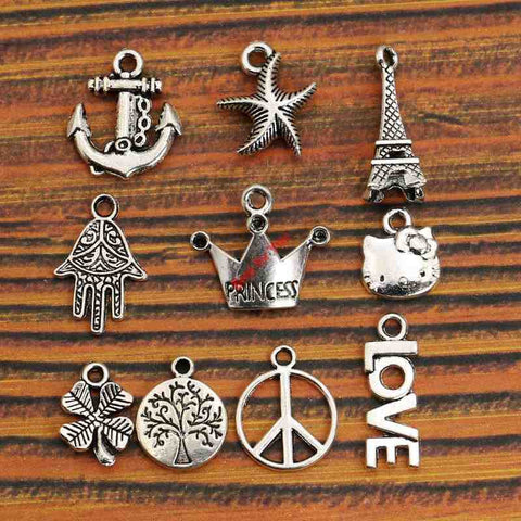 Silver Anchor Princess Crown Peace Sign Tree of Life Charm -  Fashion Pendant Jewelry Accessories