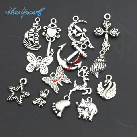 Mixed Antique Silver Plated Cross Anchor Butterfly Angel Star Charms Pendants for Necklace Jewelry.
