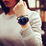 Blue Glass Watches - Electrocardiogram Pattern Dial Simple Quartz Clock. - Fim Terra
