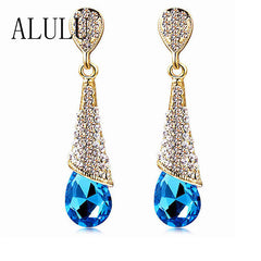 Blue Crystal Long Earrings Rhinestone - Water Drop Elegant Earring