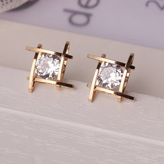 Crystals Square -Stud Earrings for Women/Girls Statement Piercing - Elegant and Charming Black Rhinestone Full