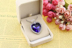 Heart Pendant Necklace - Blue Crystal Charming Heart -