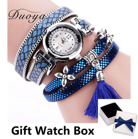 Quartz Watch Women - Flower Wristwatch Steel - Luxury Bracelet