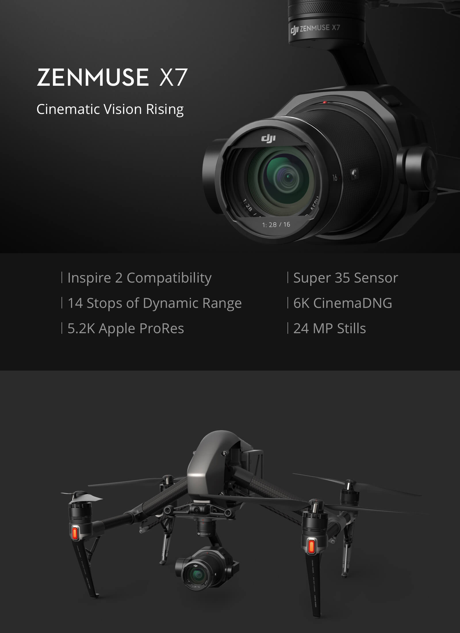 DJI Zenmuse X7 Camera and 3-Axis Gimbal CP.BX.00000028.01