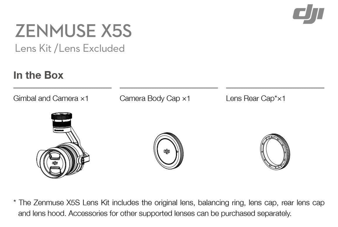 What's Included: DJI™ Zenmuse X5S (NO LENS) - 5.2K/4K Video - Inspire 2