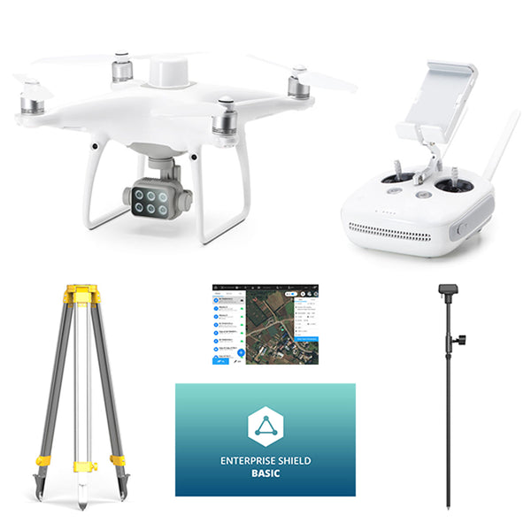 DJI P4 Multispectral Agriculture Drone with D-RTK 2 GNSS Mobile Base Station & Enterprise Shield Basic