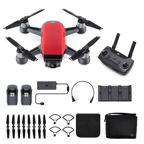 DJI™  Spark Mini Drone - Fly More Combo With Remote & Accessories - Lava red