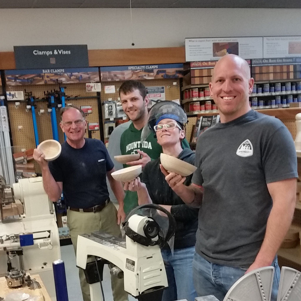 Yesterday's bowl turning class at Rockler