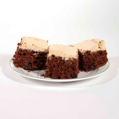 Image of 3 pieces of chocolate zucchini cake with peanut butter frosting. - Dailey Woodworking