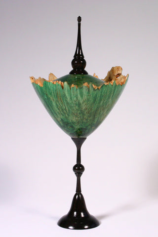 Dyed green Maple Burl lidded vessel