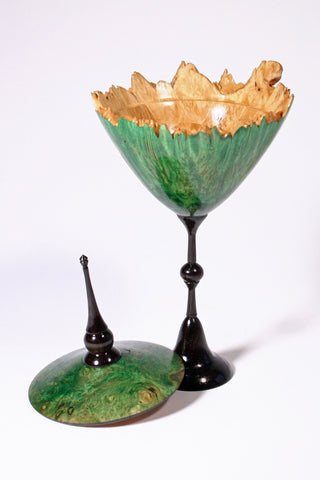 Dyed green Maple Burl lidded vessel open