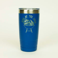 20 ounce blue Tumbler with King Of The Grill laser engraved onto it- Dailey Woodworking