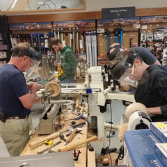 Bowl turning class at Rockler hard at work - Dailey Woodworking