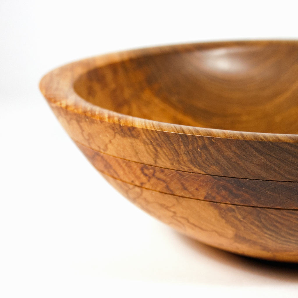 curly maple wooden salad bowl fruit bowl 10 14 x 3 inches - Wooden Salad Bowls
