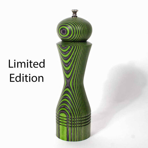 Limited Edition 10 Inch Green and Charcoal (Black) Morrison Pepper Mill - Dailey Woodworking