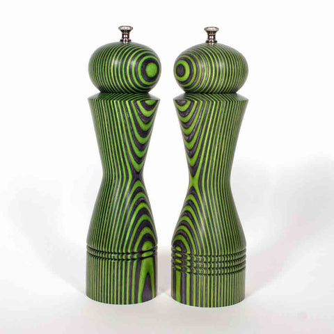 Custom order for MC, Limited Edition 10 Inch Green and Black Salt and Pepper Mill Set