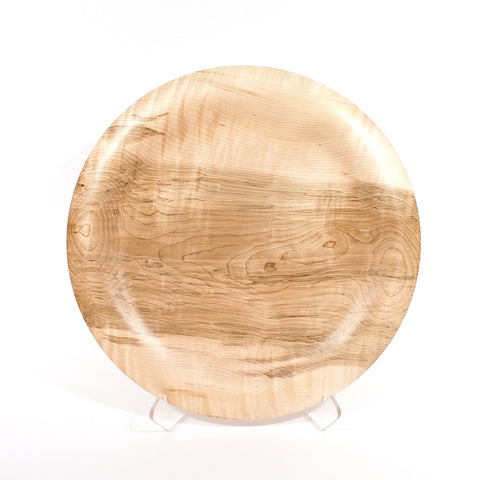 17 inch Curly Maple platter, front view - Dailey Woodworking
