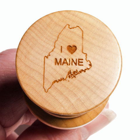 Top of I Love Maine Curly Maple Stainless Steel Bottle Stopper