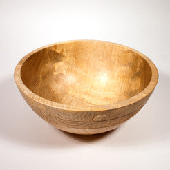 12 x 5 Inch Curly Maple Wooden Salad Bowl