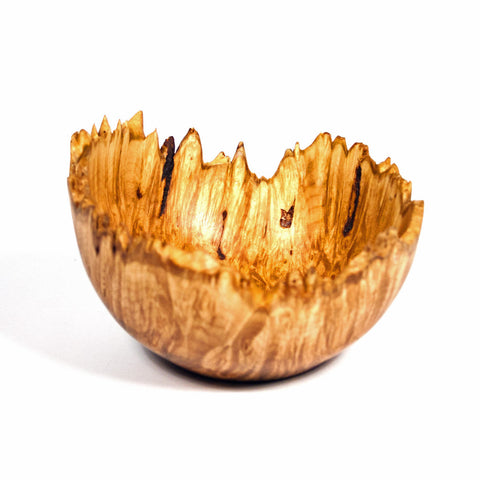 4 1/2 Inch Natural Edge Maple Burl Wooden Bowl - Dailey Woodworking