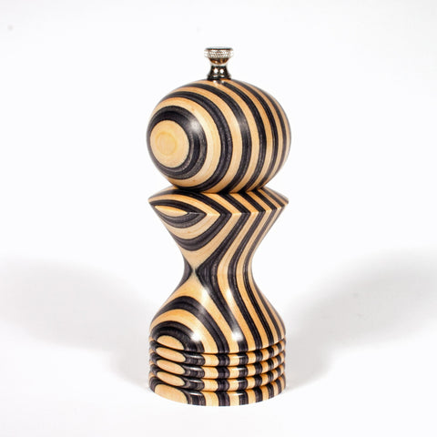 6 Inch Black and White (Natural) Morrison Pepper Mill - Dailey Woodworking