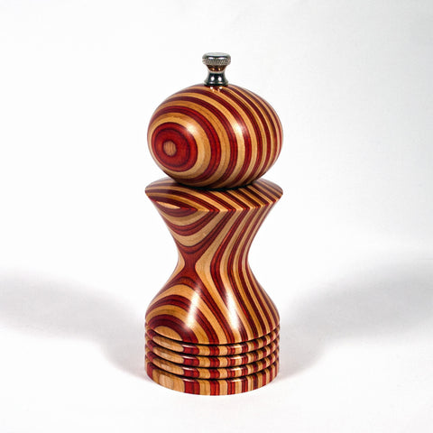 6 Inch Red and Natural (White) Laminated Morrison Pepper Mill - Dailey Woodworking