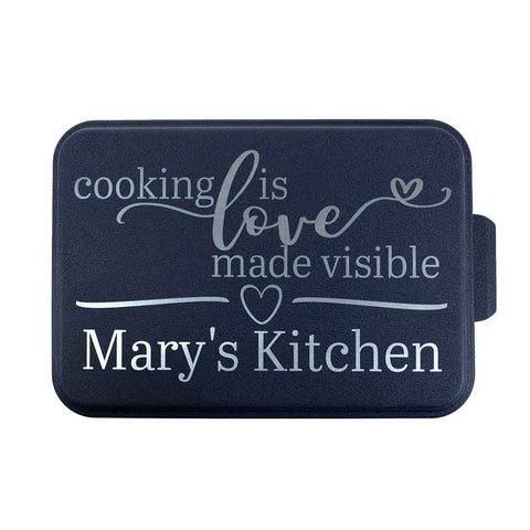 "9x13 inch aluminum baking pan with engraved blue lid ""Cooking is love made visible Mary's Kitchen"" - Dailey Woodworking"
