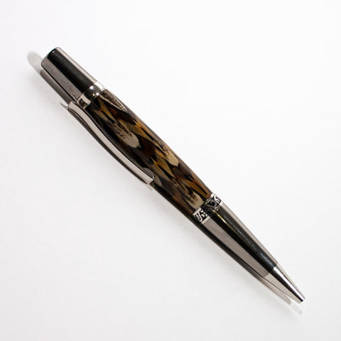 Platinum and Black Titanium Yarmouth Ringneck Pheasant Feather Ballpoint Pen - Dailey Woodworking