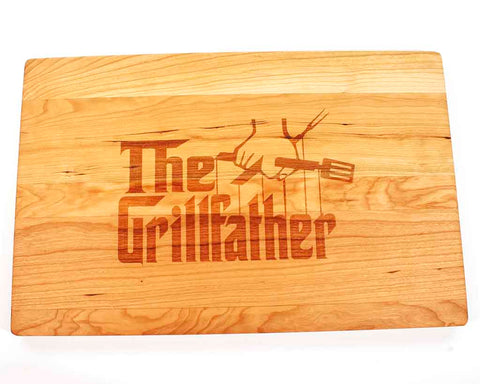 "Cherry Cutting Board with Grillfather engraved on it, 17""W x 11""H with juice groove - Dailey Woodworking"