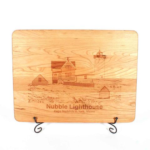 Cherry cutting board with Nubble Lighthouse engraved onto it - Dailey Woodworking