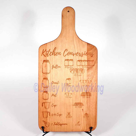 Handled Cutting Board, Serving Board with Kitchen Conversions engraved onto it